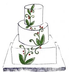 Lacy Leaf Wedding Cake Sketch by Whipped Bakeshop