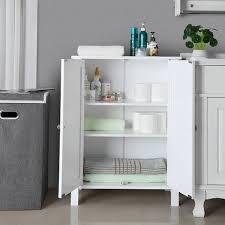 badschrank badezimmerschrank schuhschrank regal aufbewahrungmit doppeltür 2 verstellbare einlegeböden weiß 60 x 80 x 30cm weiß bcb60w white