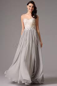sleeveless v neck lace bodice grey formal dress evening dress
