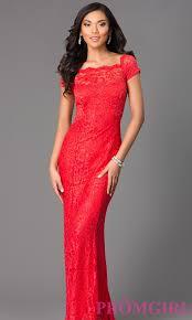 long short sleeve lace prom dress promgirl