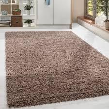 paket shaggy hochflor langflor teppich soft wohnzimmerteppich braun mocca einfarbig