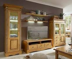 details zu massivholz anbauwand 5teilig komplett kiefer goldbraun wohnzimmer schrank wand
