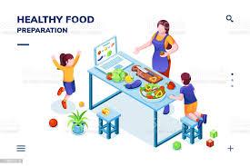 isometrischer blick auf die küche mit familienküche gesunde oder vegetarische mahlzeit frau und kinder bei der veganen zubereitung speisen