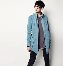 Vintage Style Color Fading Stand Collar Mens Korean Clothing Long Sleeve Denim Coat