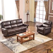 Harper Bright Designs Sectional Recliner Sofa Set Brown Chair 3Seat Recliner