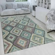 teppich bunt wohnzimmer rauten muster retro design 3 d look