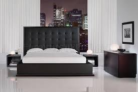black full leather ludlow bedroom set w oversized headboard bed