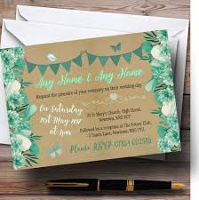 Teal Mint Green Rustic Bunting Floral Personalised Wedding Invitations