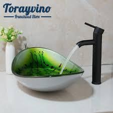 torayvino grün oval glas waschbecken badezimmer waschbecken vessel vanity mixer waschbecken gemalt messing schwarz orb wasserhahn set ablauf