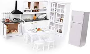 nicebuty puppenhaus küche esszimmer luxus weiß holzgehäuse kühlschrank kühlschrank möbel 01 12 weiß