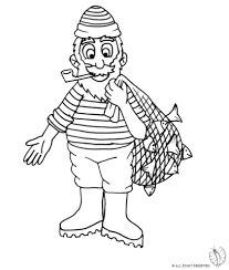 Coloring Page Of Fisherman With Fish Net To Download