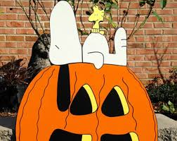 Snoopy Halloween Pumpkin Carving by Peanuts Yard Art Featuring Spike With His Pumkin Cactus For