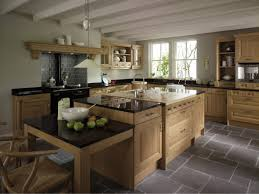 Agreeable Kitchen Classic Country Style Design With Grey Alluring Natural Wooden Cabinet Island Along Black Gloss
