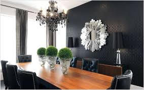 Fancy Mirrors For Modern Dining Room With Black Accent Wall Color