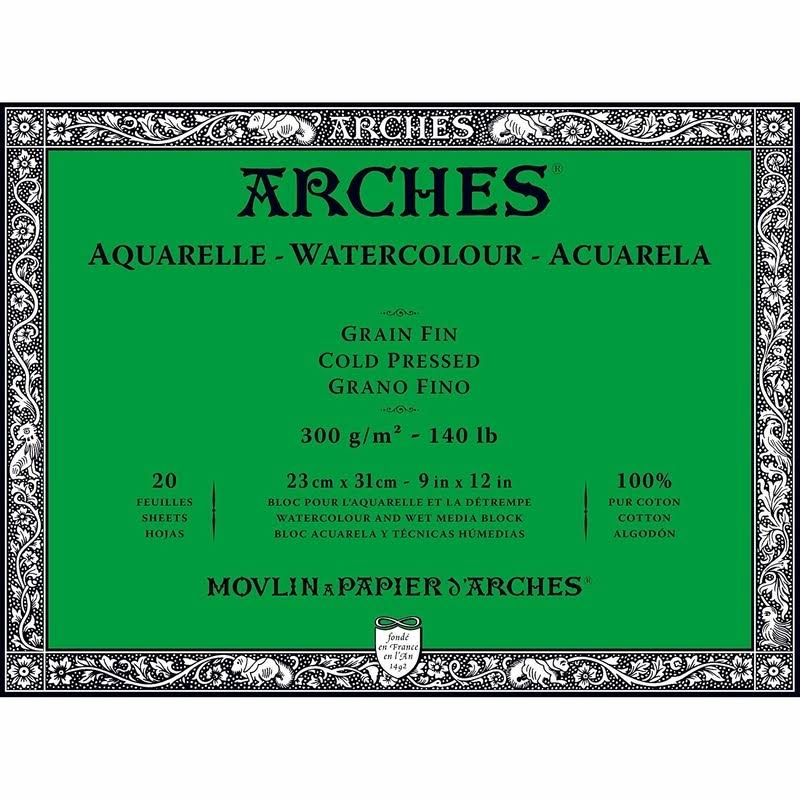 "Arches Natural White Cold Pressed Watercolor Sheet Block - 9"" x 12"", 20 Sheets"