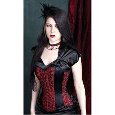 gothic red rose taffeta corset victorian pattern corset trimmed