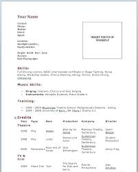 Dance Resume Example Sample For Audition Acting Template No Experience Resumes