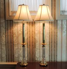 Glass Candlestick Buffet Lamps by Pair Of Waterford Crystal Buffet Lamps Ebth