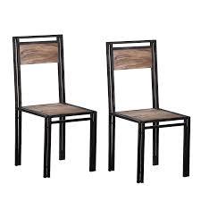 stabiler stuhl im 2er set aus sheesham holz und gestell schwarz lackiert