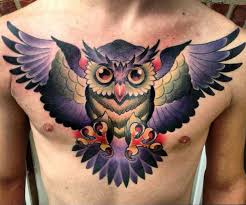 This Astonishing Chest Tattoo Shows Such A Wide Palette Of Colors And Tones Characteristic New School Style