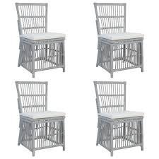 vidaxl esszimmerstühle mit kissen 4 stk grau natur rattan gitoparts