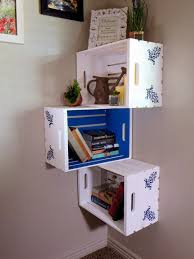Crate Corner Unit Wooden Hand Painted Wall Hanging Or Book Shelve