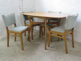 Vintage G Plan Oak Drop Leaf Dining Table Table & Four Pale Blue Fabric  Chairs