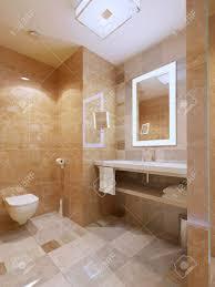 badezimmer modern helle zimmer mit marmorfliesen waschbecken konsole 3d übertragen
