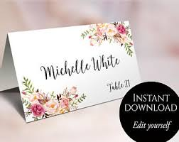 Wedding Place Cards Card Template Editable Reserved Seating Folded Name