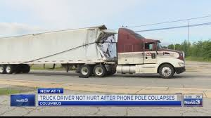 Truck Driver Thankful To Be Alive After Pole Snaps, Toppling Wires ...