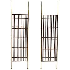 Floor To Ceiling Tension Pole Room Divider by Pair Of Fantastic Modernist Mahogany Slat Tension Mount Room