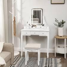 vasagle schminktisch rdt25wl schminktisch mit led beleuchtung in 3 farben mit spiegel weiß kaufen otto