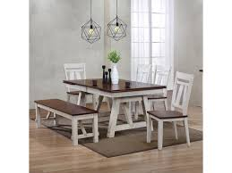 Bernards Winslow 6-Piece Two-Tone Refectory Table Set With Bench ...