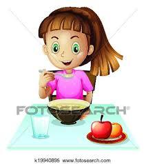 A girl eating breakfast