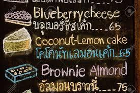 handzeichnung cakd ü in cak shop thai und englisch wörter