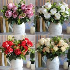 New Charming Beautiful Pretty Artificial Fake Spring Rose Flowers