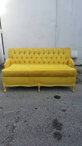 Tufted Velvet Sofa Set by Vintage Tufted Velvet Yellow Couch Love Seat Sofa By Feelinvintage