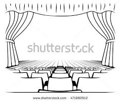 Black White Drawing Theatrical Scene Stock Illustration