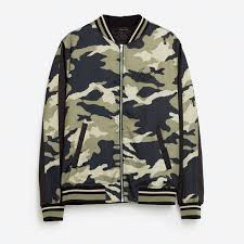 zara man bnwt genuine khaki camouflage embroidered tiger bomber
