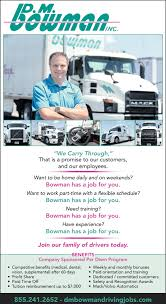 100 Home Daily Truck Driving Jobs Drivers D M Bowman Williamsport MD