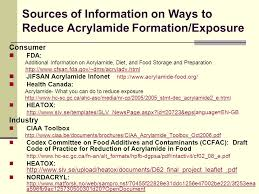 24 Sources Of Information On Ways To Reduce Acrylamide Formation Exposure