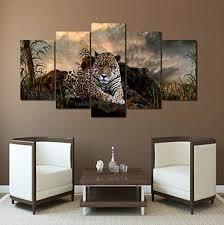 modern kunstdruck wandbilder leinwandbilder leopard bilder auf leinwand bild für kinderzimmer wohnzimmer home decor 5 teilig poster kein rahmen