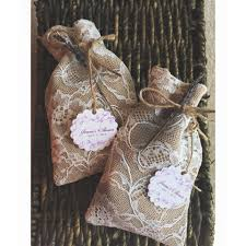 Vintage Lace Wedding Favor Bag Burlap Linen Bridal Shower Sachet