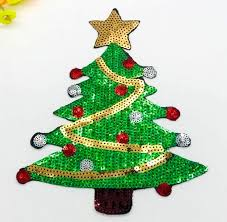 Sequin Applique Christmas Tree Craft Patch 9 GB601