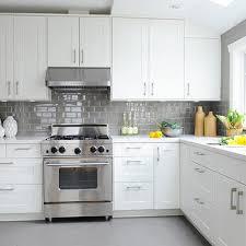 white kitchen with gray floor tiles design ideas