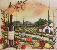 Grape Decor For Kitchen by Tuscan Vineyard Tile Murals