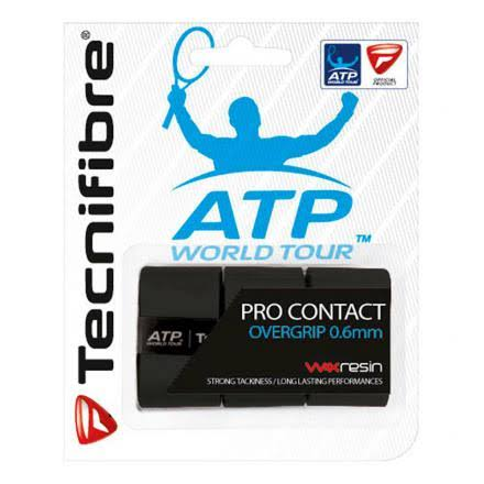 Tecnifibre Pro Contact Tennis Racket Overgrips - Black, 0.6mm, 3pk