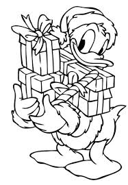 Donald With Christmas Presents Coloring Page