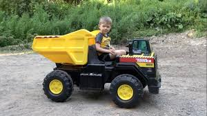 TONKA RIDE ON MIGHTY DUMP TRUCK FOR KIDS - YouTube