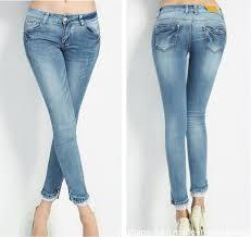 Elegant New Fashion Ladies Refreshing Long Lace Hem Denim Jeans Get Latest Price